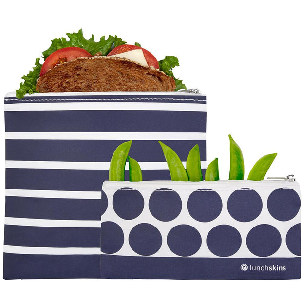 Reusable Zippered Sandwich Bag + Snack Bag 2-Pack Bundle Stripe 1