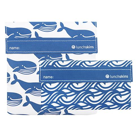 Reusable 2-Pack Bag Set <br> (1 Sandwich + 1 Snack) <br>Blue Whale