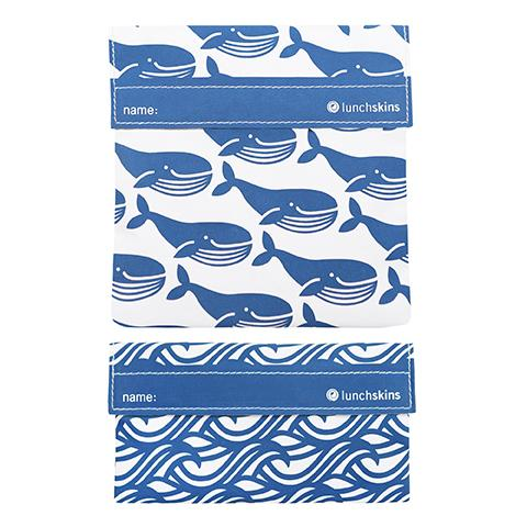 Reusable Sandwich Bag + Snack Bag 2-Pack Bundle Whale 1