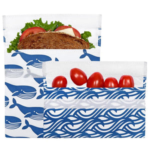Reusable Lunch Bag Blue Whale 2-Pack Bag Set