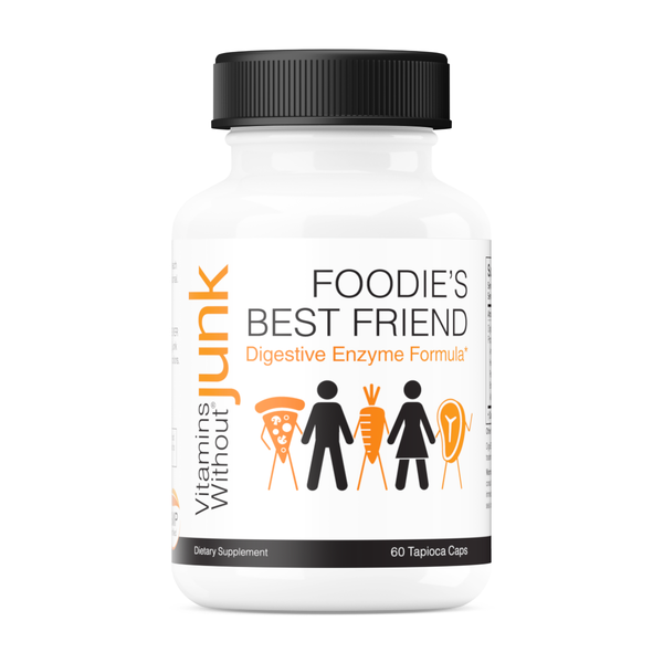 Foodie's Best Friend from Vitamins Without Junk. Digestive enzyme supplement. 60 capsules. Vegetarian, gluten free.