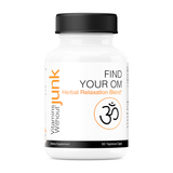 Find Your Om from Vitamins Without Junk. Herbal relaxation supplement to calm the brain and muscles. 60 capsules. Vegan, gluten free.