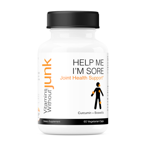 Help Me I'm Sore from Vitamins Without Junk. Curcumin and boswellia extract supplement. 60 capsules. Vegan, gluten free.
