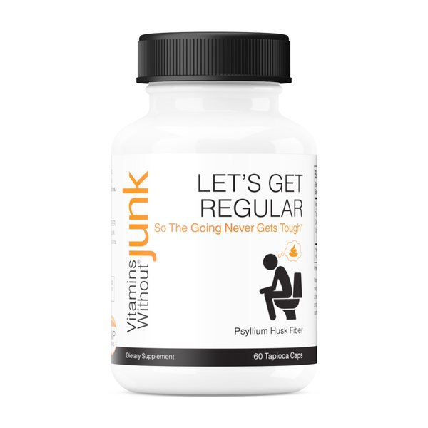 Let's Get Regular from Vitamins Without Junk. Psyllium husk fiber supplement. 60 capsules. Vegan, gluten free.