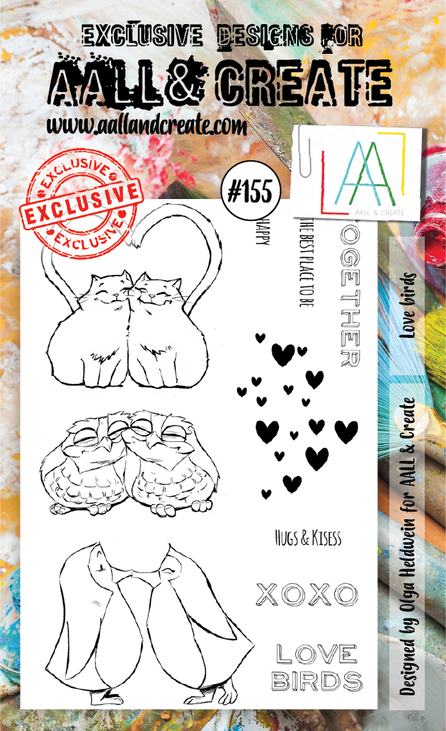 AALL & Create A6 Stamp Set #155 - Love Birds