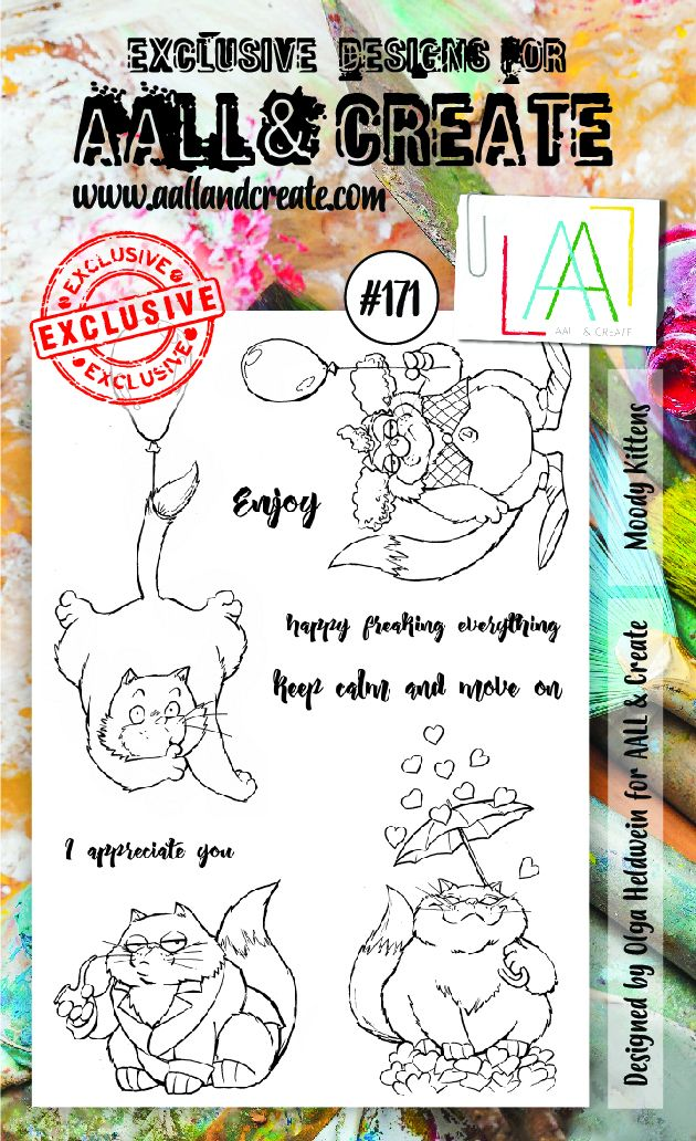 AALL & Create A6 Stamp Set #171 - Moody Kittens