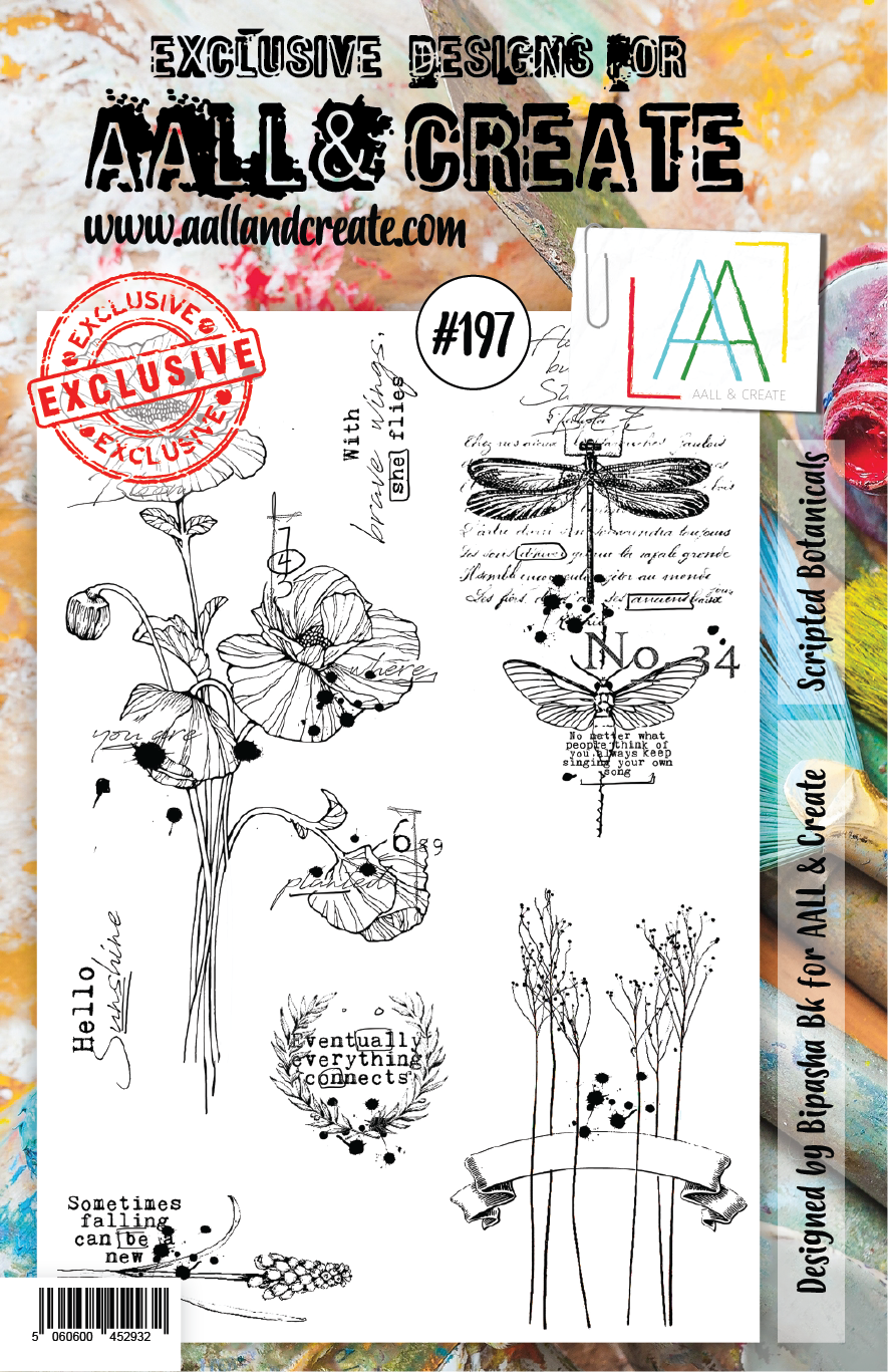 AALL & Create A5 Stamp Set #197 - Scripted Botanicals