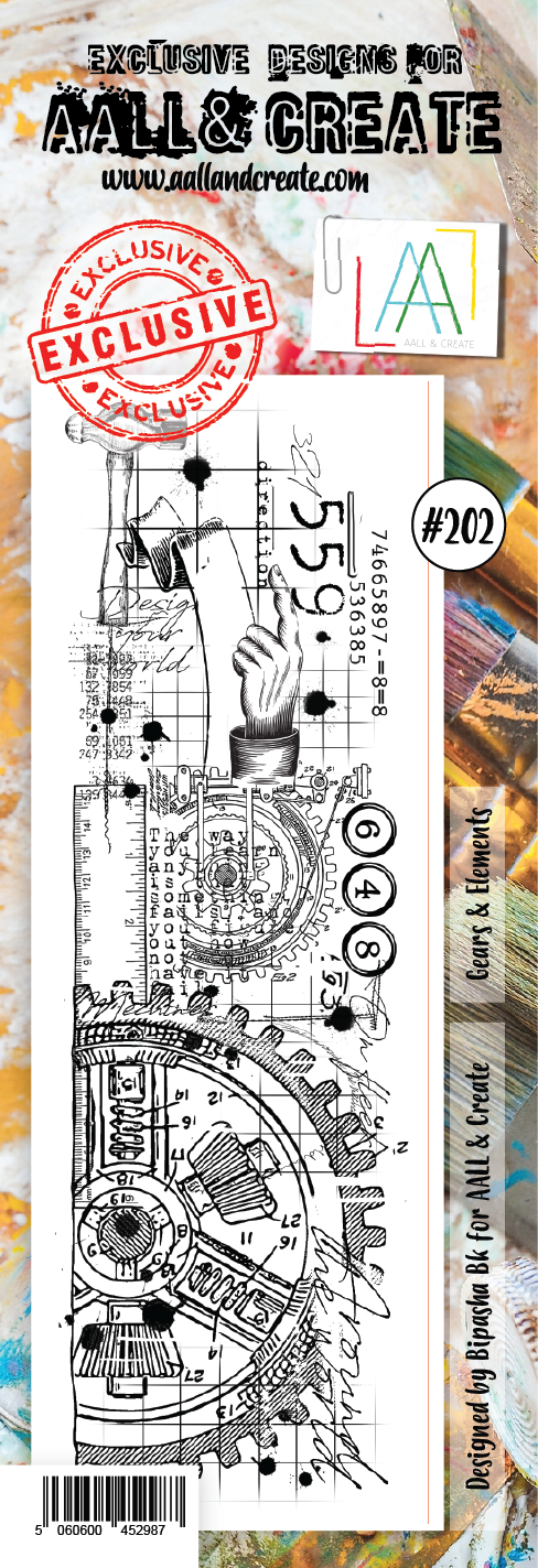 AALL & Create Border Stamp #202 - Gears & Elements