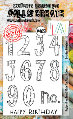 AALL & Create A6 Stamp Set #405 - Doodled Numbers