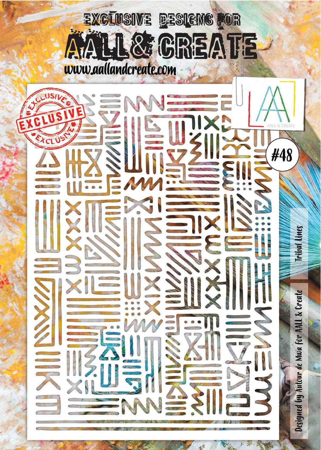 AALL & Create A4 Stencil #48 - Tribal Lines