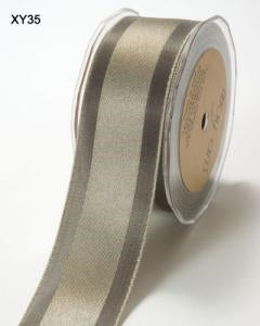 Solid/Satin Centre Band Ribbon - Pewter 5m