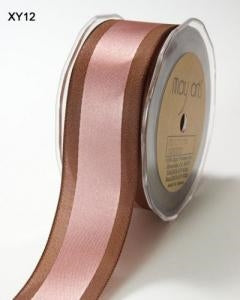 Solid/Satin Centre Band Ribbon - Pink/Brown 5m