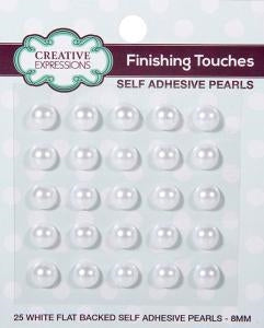 Creative Expressions White Self Adhesive Pearls - 8mm