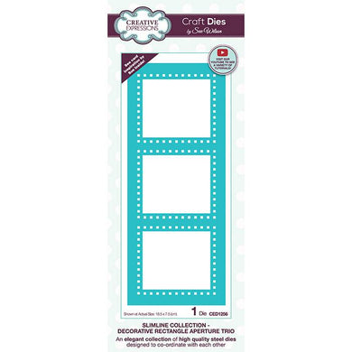 Dies by Sue Wilson - Slimline Decorative Rectangle Aperture Trio