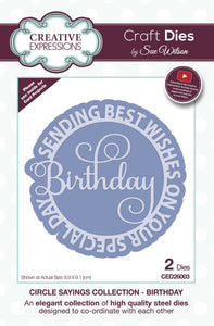 Dies by Sue Wilson Circle Sayings Collection - Birthday