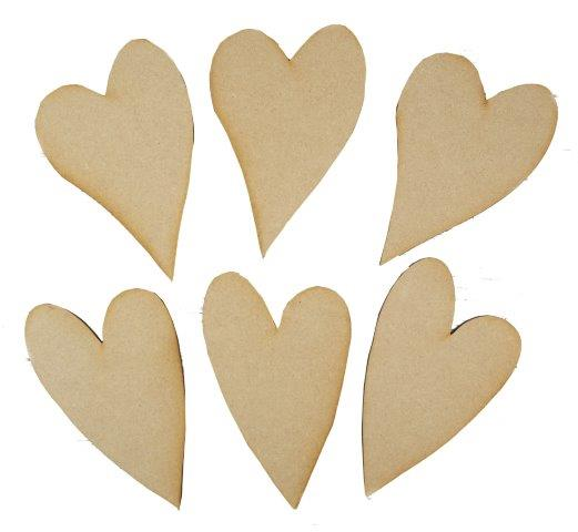 MDF Mixed Hearts - Pack of 6