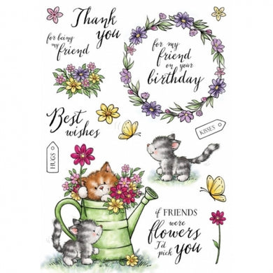Wild Rose Studio A5 Clear Stamp Set - Cats in the Garden