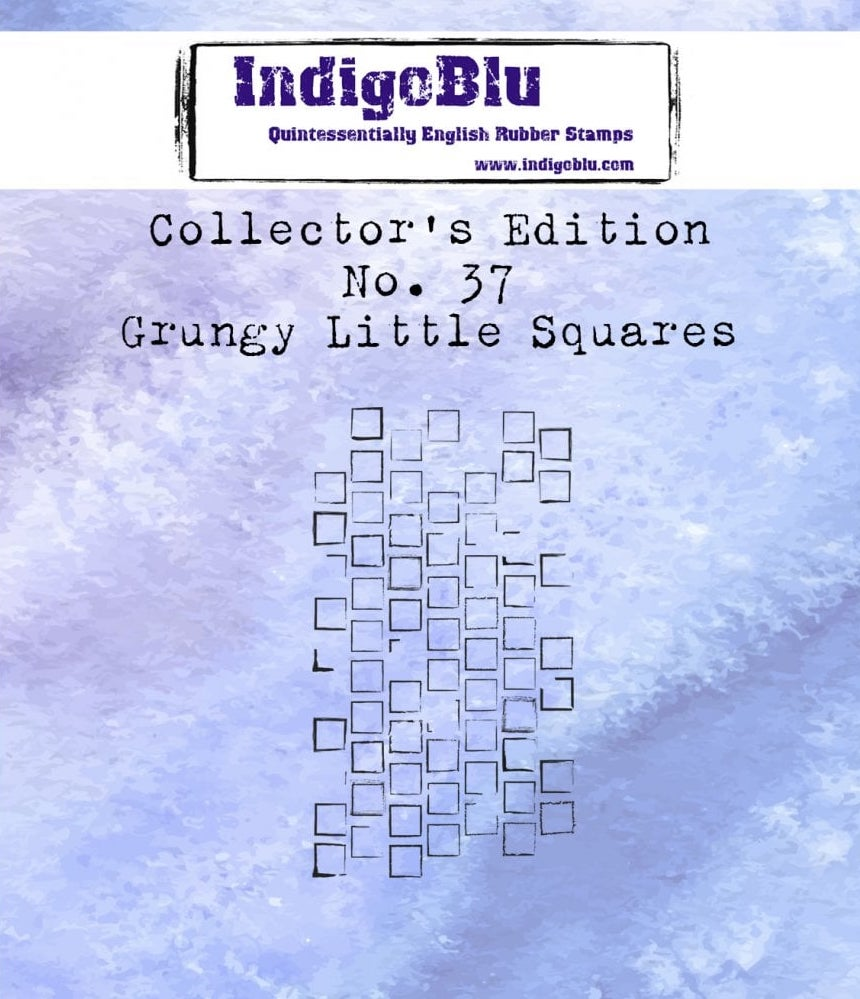 Indigoblu Collector's Edition Red Rubber Stamp - No.37 Grungy Little Squares