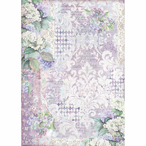 Stamperia A3 Rice Paper - Hortensia Wallpaper