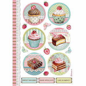 Stamperia A4 Rice Paper - Round Mini Cakes