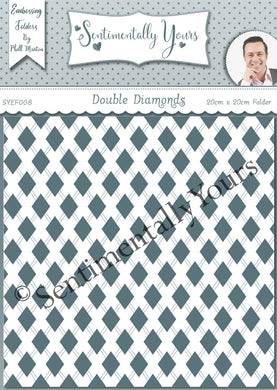 Phill Martin Sentimentally Yours 8 x 8 Embossing Folder - Double Diamonds