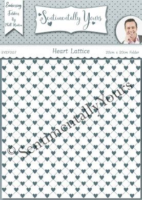 Phill Martin Sentimentally Yours 8 x 8 Embossing Folder - Heart Lattice