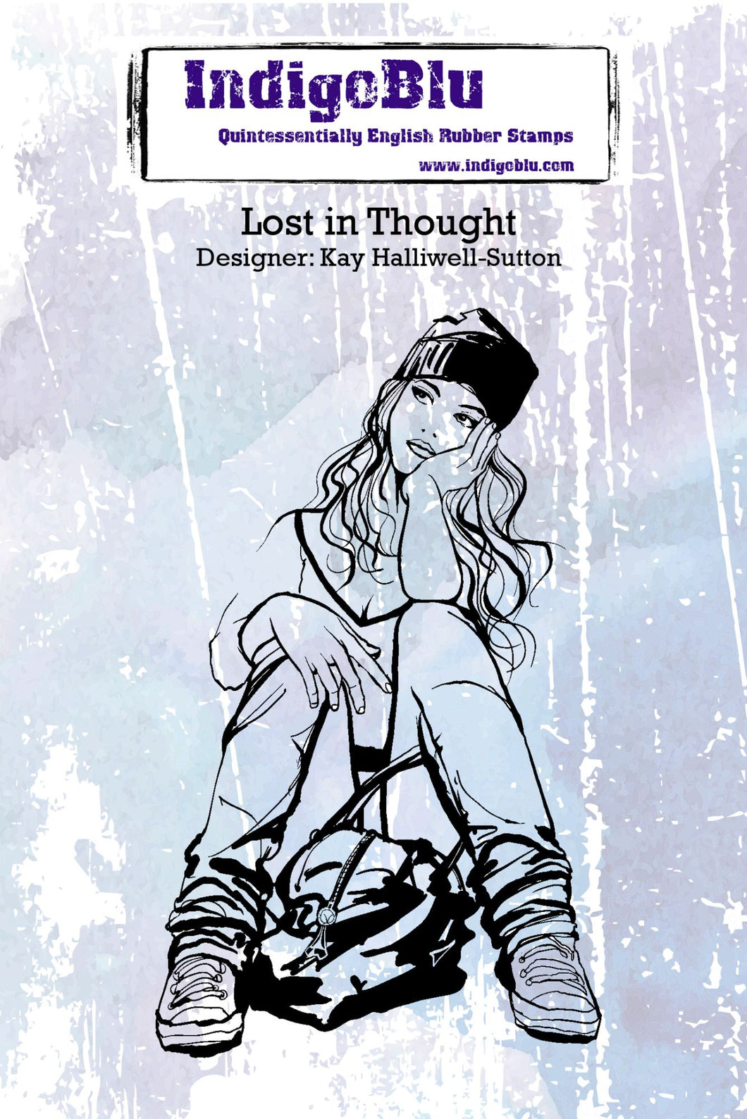 IndigoBlu A6 Red Rubber Stamp - Lost in Thought
