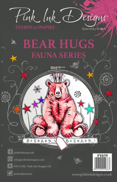 Pink Ink Designs A5 Clear Stamp Set - Fauna Series : Bear Hugs