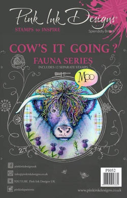 Pink Ink Designs A5 Clear Stamp Set - Fauna Series : Cow's it Going?