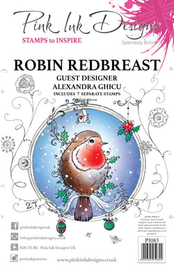 Pink Ink Designs A5 Clear Stamp Set - Robin Redbreast