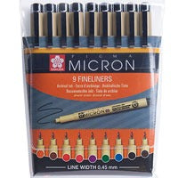Sakura Pigma Micron Pens - Pack of 9 Coloured Pens