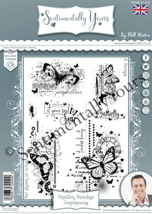 Phill Martin Sentimentally Yours A5 Stamp Set -  Papillon Paradise : Centrepieces