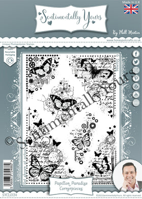Phill Martin Sentimentally Yours A5 Stamp Set -  Papillon Paradise : Cornerpieces