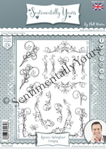 Phill Martin Sentimentally Yours A5 Stamp Set -  Rococo Splendour - Corners