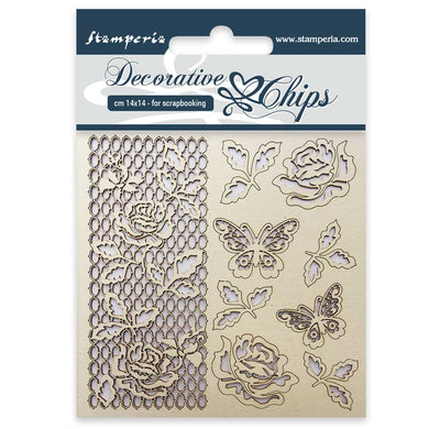 Stamperia Decorative Chips : Rose and Butterfly