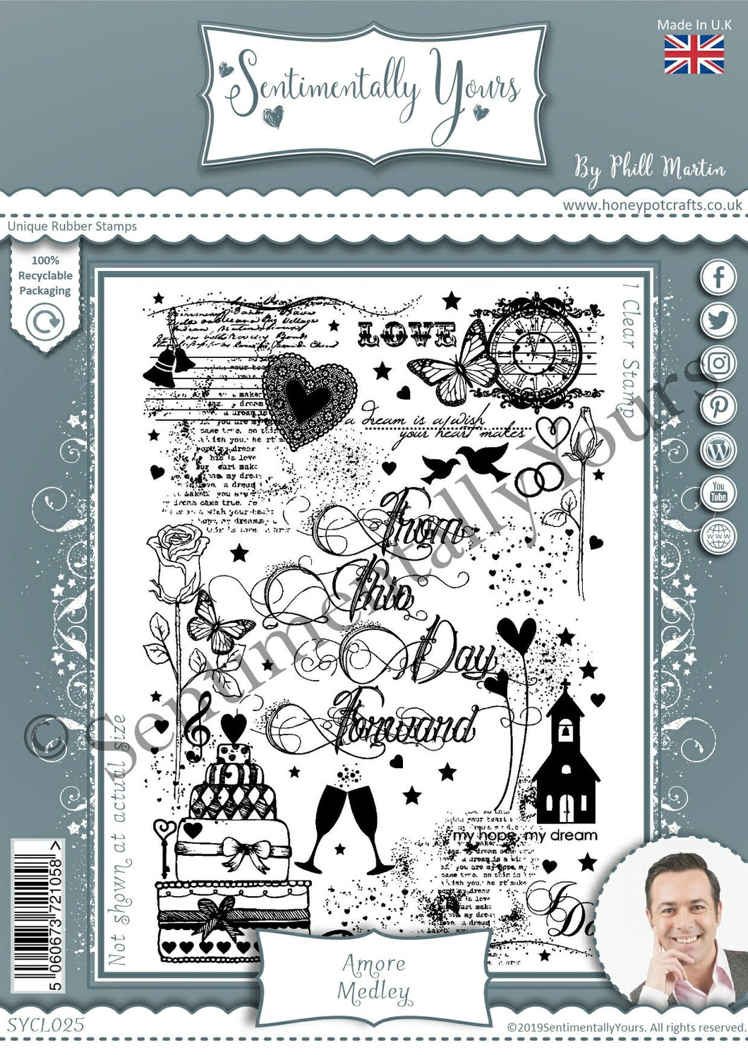 Phill Martin Sentimentally Yours A6 Clear Medley Stamp - Amore Medley