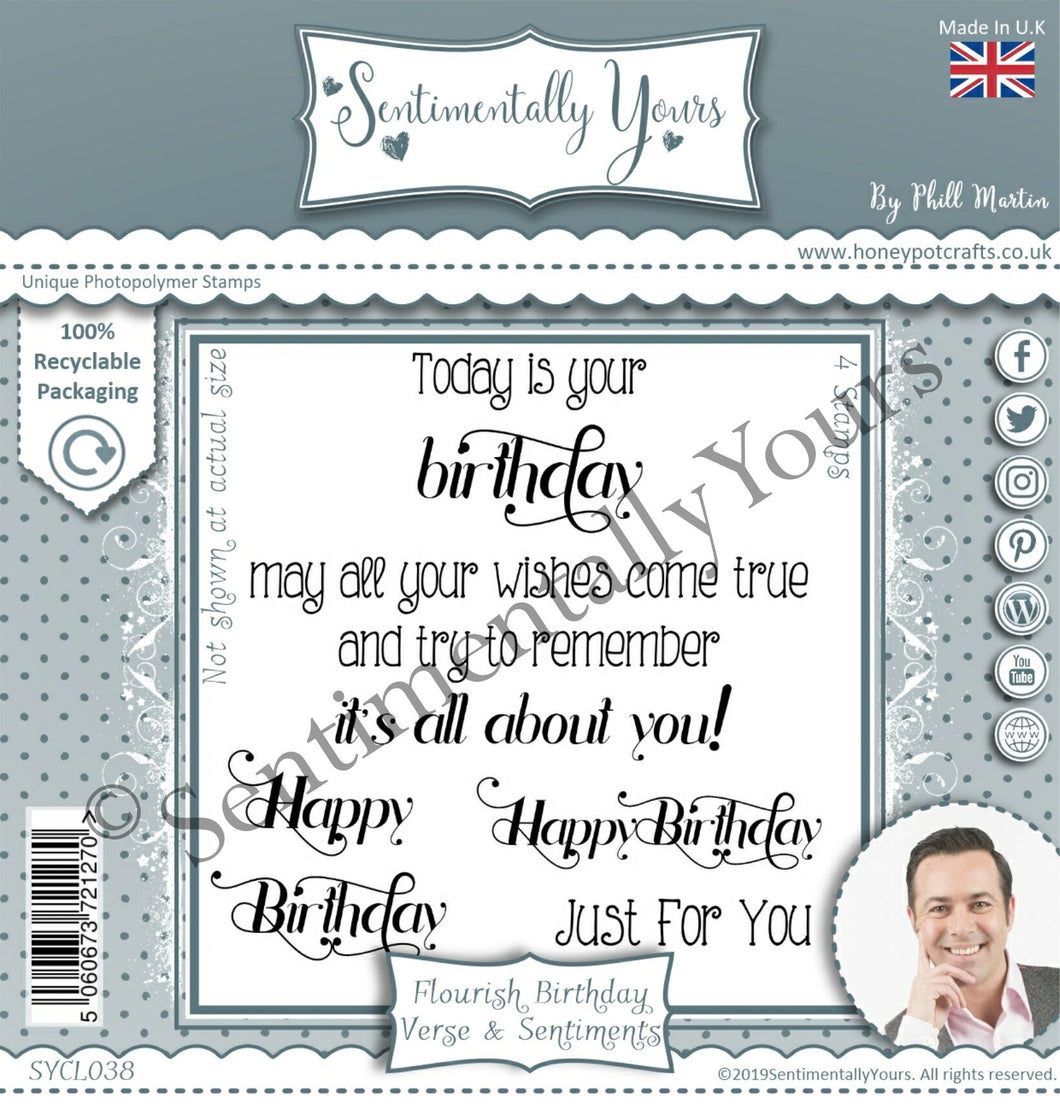 Phill Martin Sentimentally Yours 4 x 4 Stamp Set - Flourish Birthday Verse & Sentiments Set