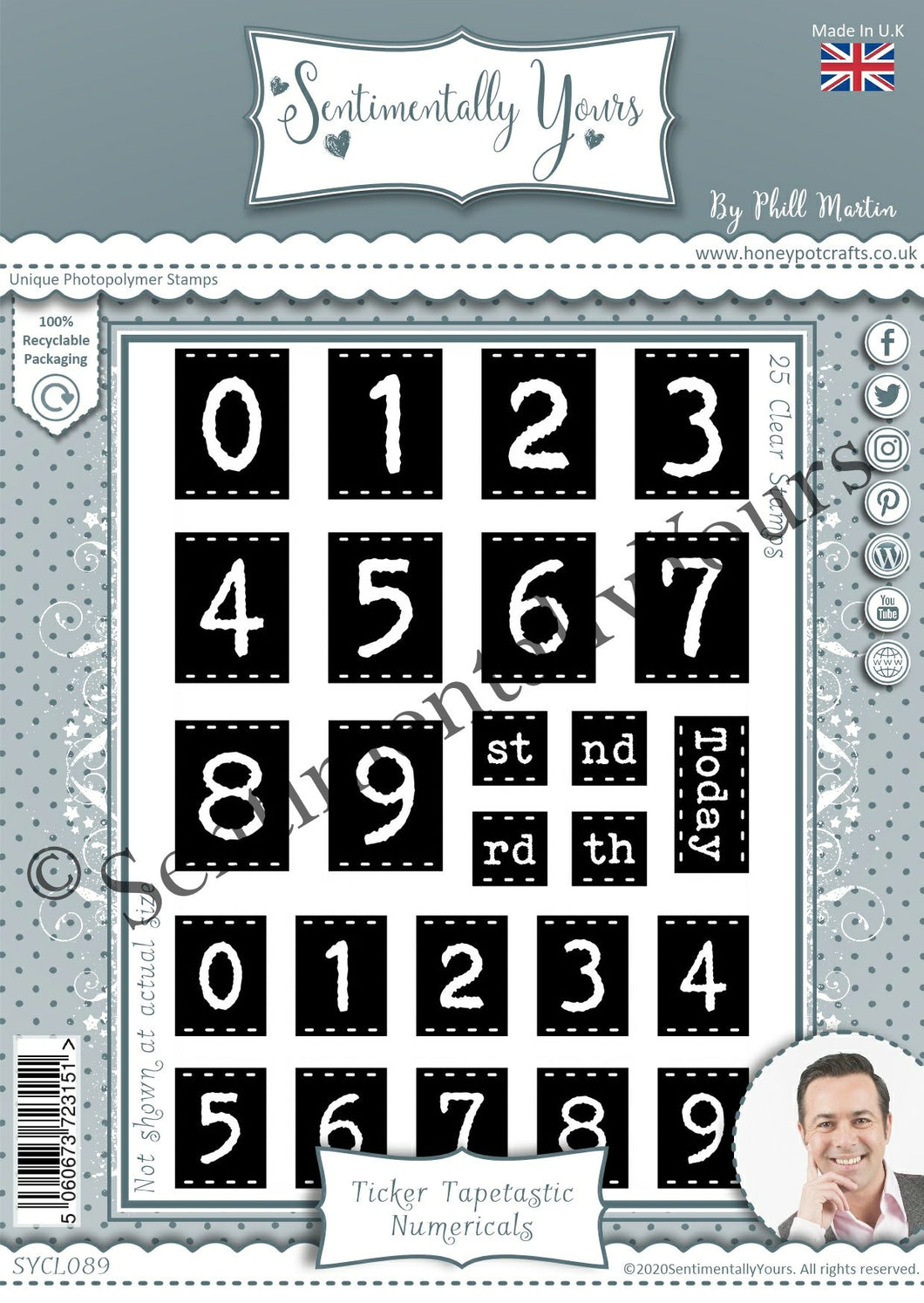 Phill Martin Sentimentally Yours A6 Stamp Set -  Ticket Tapetastic : Numericals