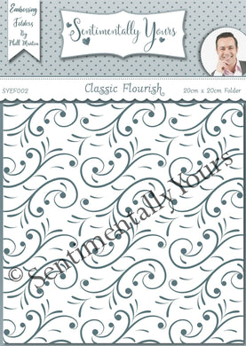 Phill Martin Sentimentally Yours 8 x 8 Embossing Folder - Classic Flourish