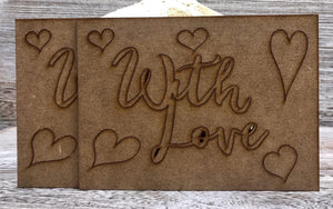 Phill Martin Sentimentally Yours MDF Sentiment Adornment - With Love
