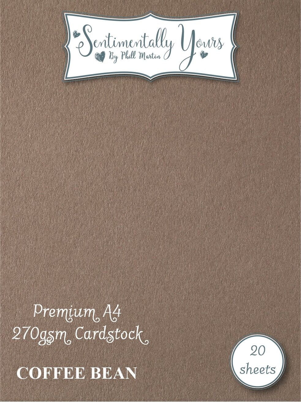 Phill Martin Sentimentally Yours Premium Cardstock - Coffee Bean