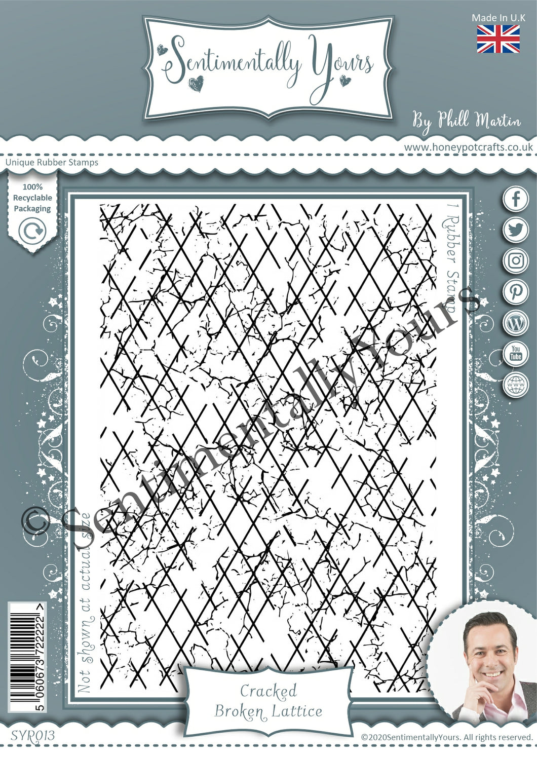 Sentimentally Yours A6 Rubber Stamp - Cracked Broken Lattice