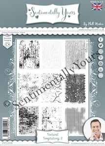 Phill Martin Sentimentally Yours A5 Stamp Set -  Textural Temptations 2