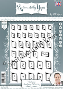 Phill Martin Sentimentally Yours A5 Stamp Set -  Trioframe Numbers Collection