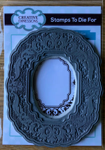 Pre-Loved Creative Expressions Rubber Stamp - Vivian's Royal Wreath