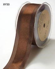 Solid/Satin Centre Band Ribbon - Brown 5m