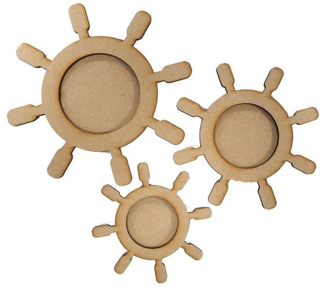 MDF Ships Wheels - Pack of 3