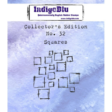 Indigoblu Collector's Edition Red Rubber Stamp - No.32 Squares