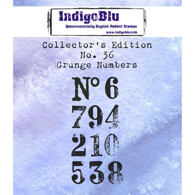Indigoblu Collector's Edition Red Rubber Stamp - No.36 Grunge Numbers