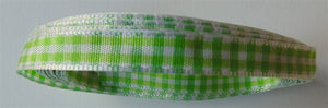 Spring Green & White Gingham Ribbon - 4m